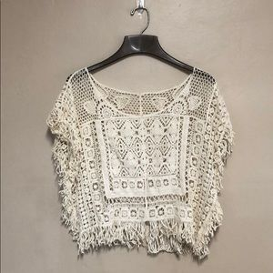 NWOT crochet cream cover up